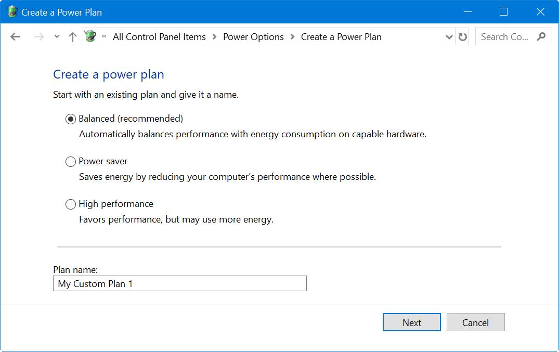 Creating Custom Power Plans