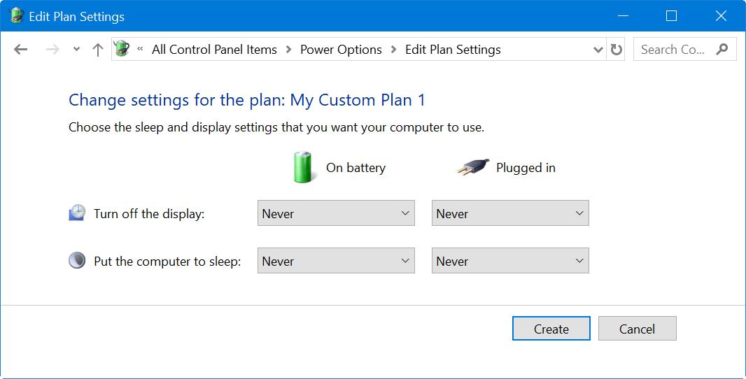 Custom Power Plan Options