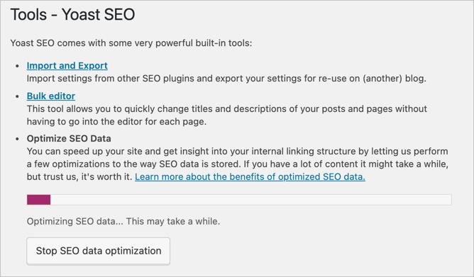 Data Optimization Running