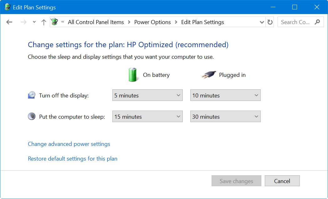 Edit Power Plans in Windows 10