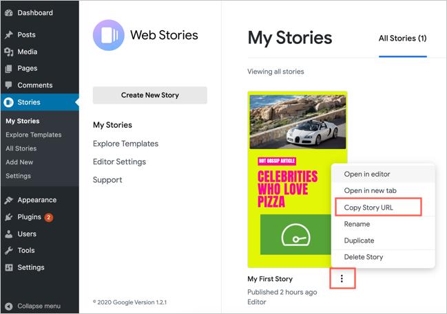 Get Story URL