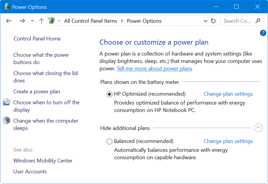 Power Plans in Windows 10