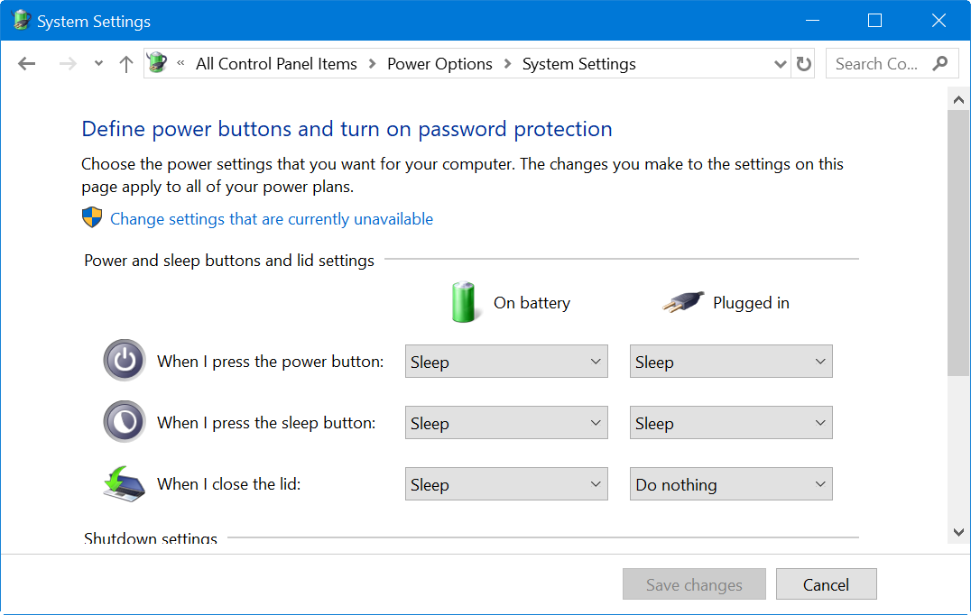 Power, Sleep and Lid Action in Windows