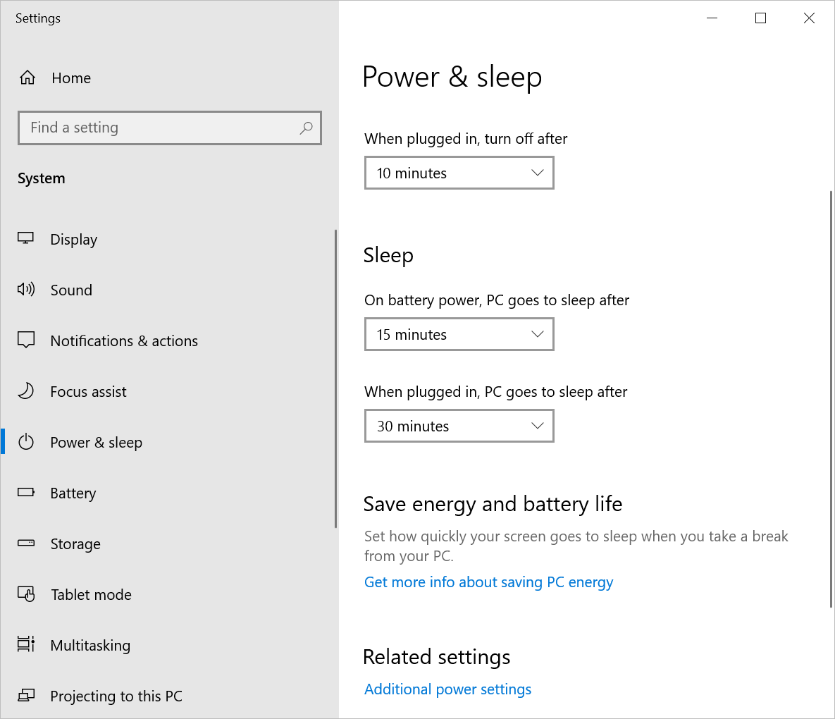 Power and Sleep Settings