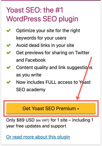 Purchase Yoast SEO Premium