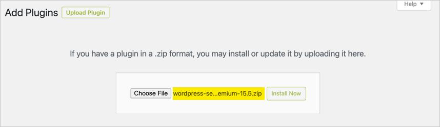 Upload Yoast Premium ZIP File