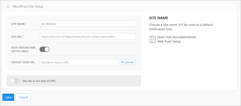 WordPress Site Setup OneSignal