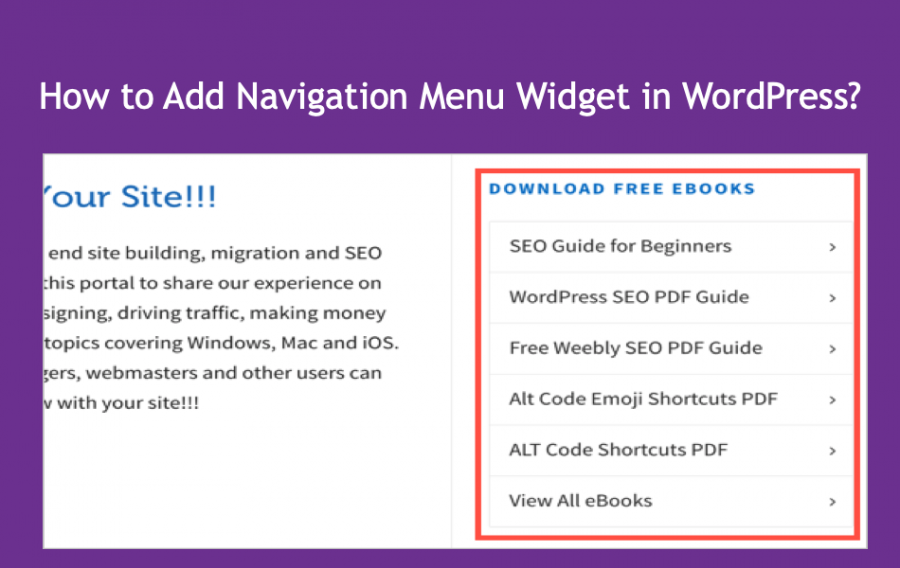 Add Navigation Menu Widget in WordPress