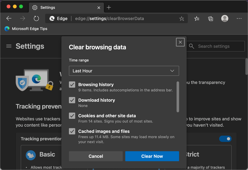 Clear Browsing History in Edge with Shortcut URL