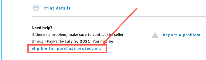 Click Purchase Protection Link