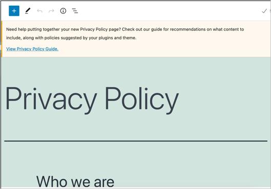 Редактировать страницу политики конфиденциальности