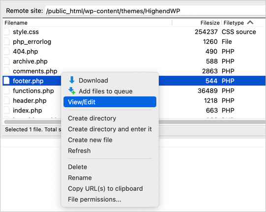 Edit Theme Files with FTP