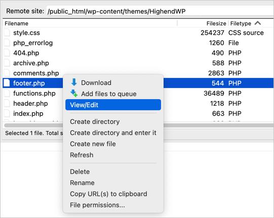 Редактировать файлы темы с помощью FTP