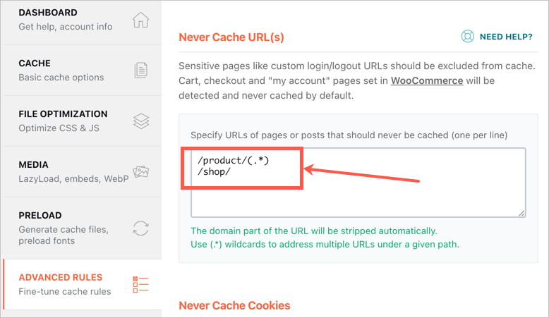 Exclude WooCommerce Pages from Caching
