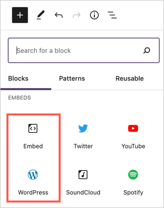 Find Embed and WordPress Embed