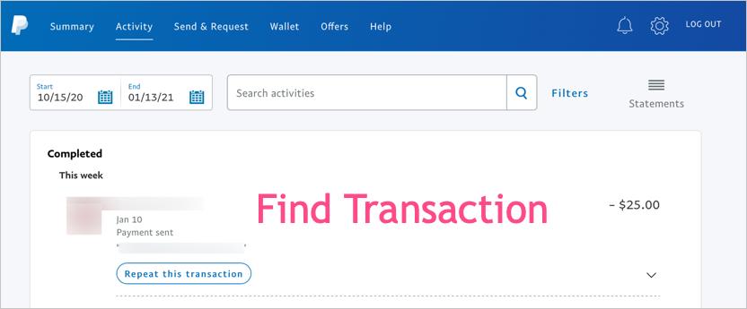 Find Transaction for Refund