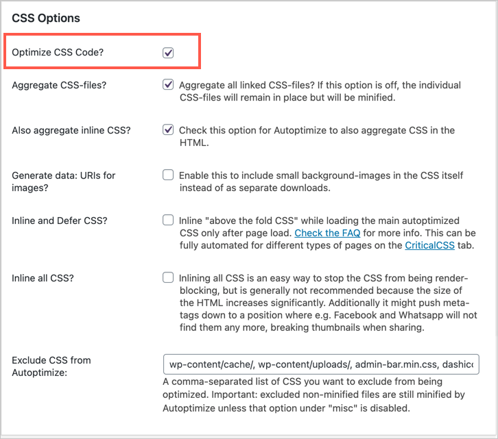 Optimize CSS in Autoptimize