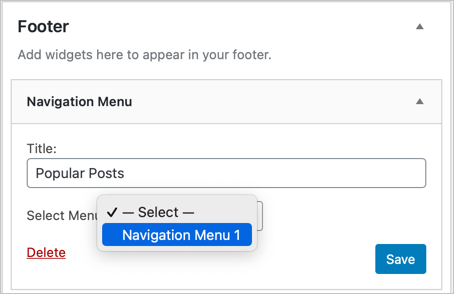 Select Navigation Menu in Footer