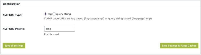 AMP Extension Settings