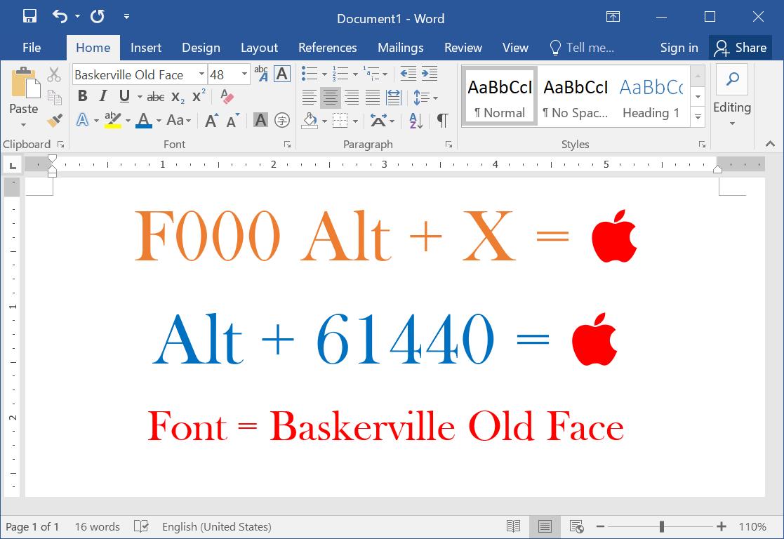 Ярлык Alt-кода для символа логотипа Apple