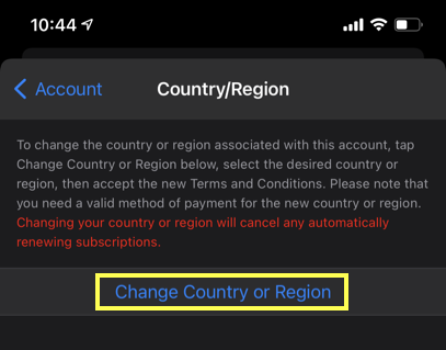 Change Country from iPhone