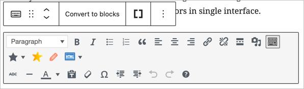 Классический блок в редакторе Гутенберга