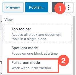 Disable Fullscreen Mode in Gutenberg
