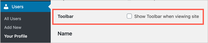 Disable Toolbar in WordPress