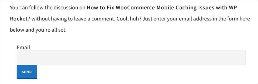 Форма подписки по электронной почте без комментариев