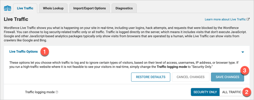 Enable All Traffic in Wordfence