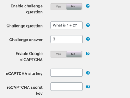 Enable Challenge Question