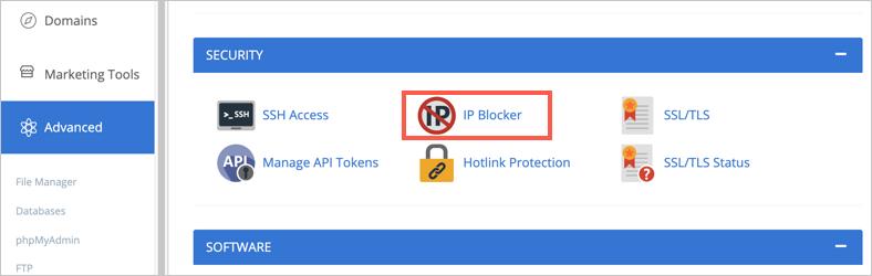 IP Blocker in Bluehost