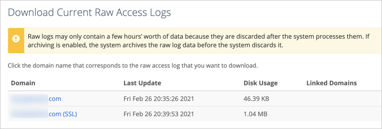 Raw Access Logs in Bluehost