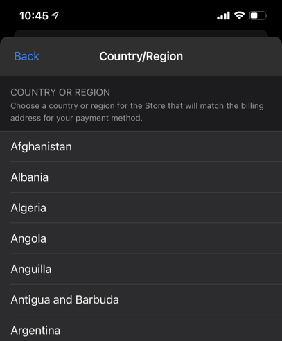 Select Country in iPhone