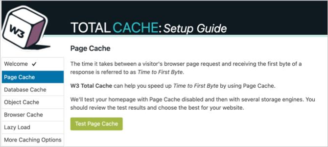 Setup Guide Page Cache