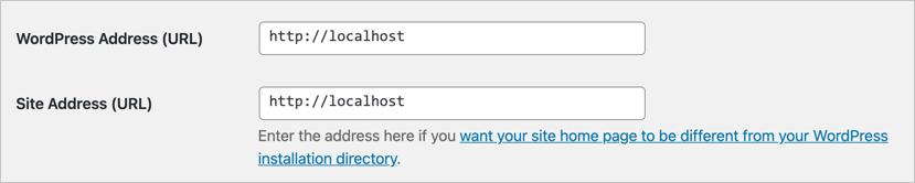 Адрес сайта и адрес WordPress
