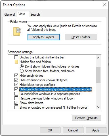 Просмотр скрытых и системных файлов