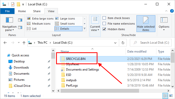 View Recycle Bin Location