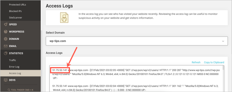 View Server Access Log in SiteGround