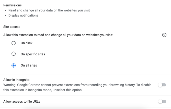 Ad Blocker Plus Permission Details
