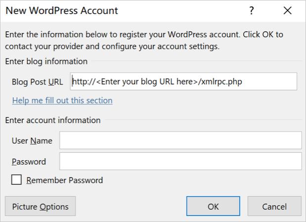 Подключить новую учетную запись WordPress