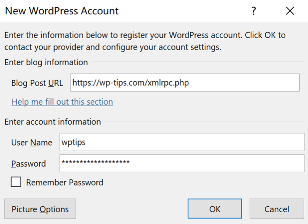 Connect to WordPress Account