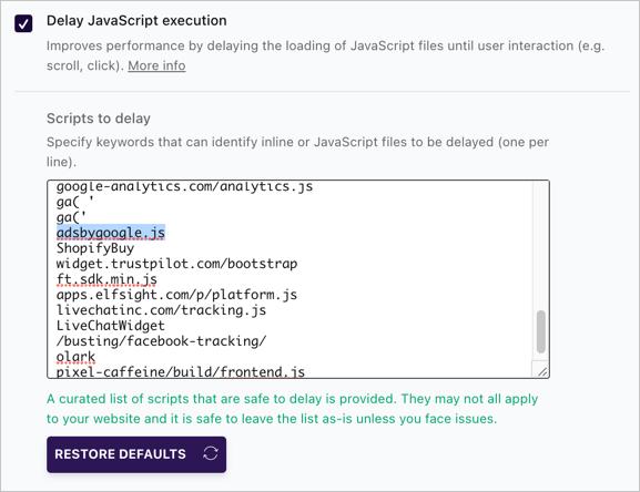 Delay Advertisement JavaScript Execution