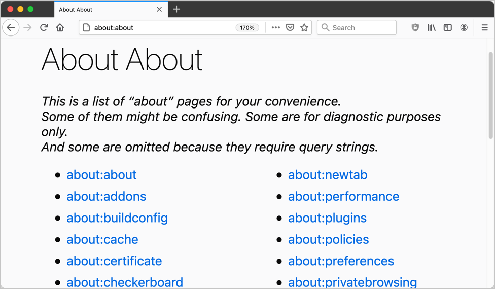 Firefox About Page List