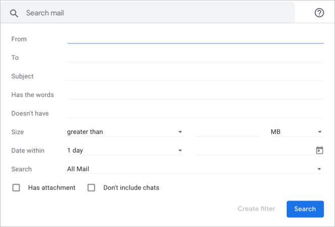 Gmail Advanced Search