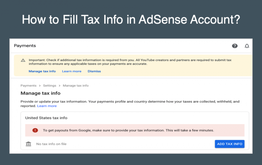 How to Fill Tax Info in AdSense Account?