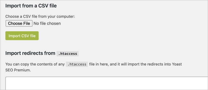 Import Redirects from CSV or htaccess
