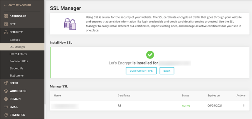 Install SSL in SiteGround