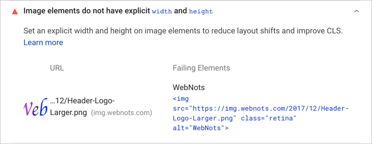 Missing Width and Height for Image