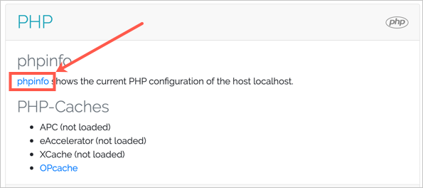 Открыть страницу phpinfo